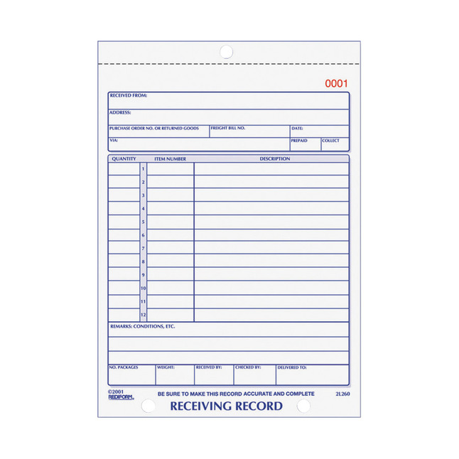 Delivery Forms and Receiving Forms, Item Number 1066712