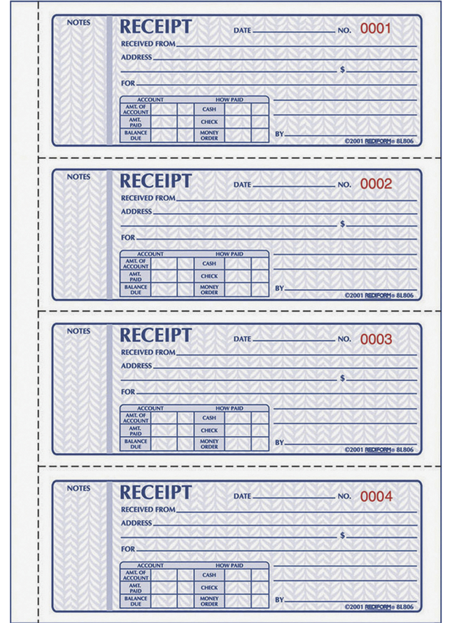 Receipts and Invoices and Statement Forms, Item Number 1066748
