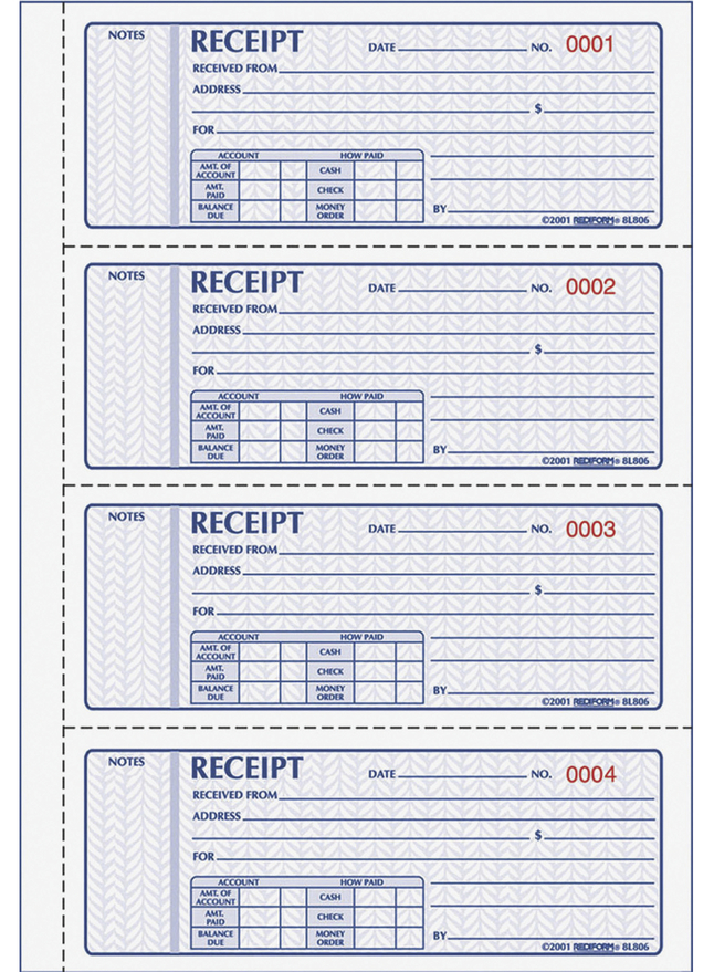Receipts and Invoices and Statement Forms, Item Number 1066750