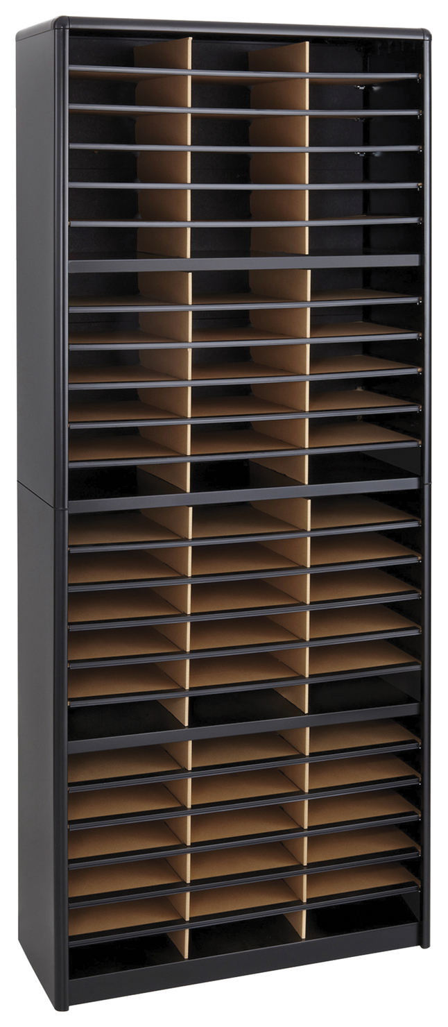 Image for Safco Value Sorter Literature Organizer, 32-1/4 x 13-1/2 x 75 Inches, 72 Compartments, Black from School Specialty