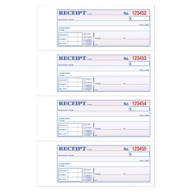 Receipts and Invoices and Statement Forms, Item Number 1070574
