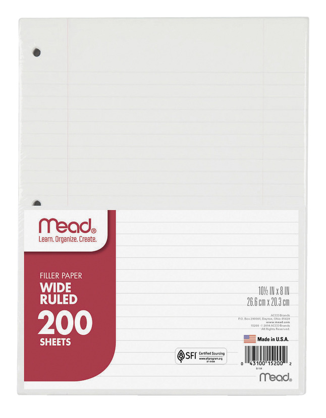 Notebooks, Loose Leaf Paper, Filler Paper, Item Number 1079496