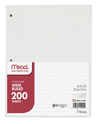 Notebooks, Loose Leaf Paper, Filler Paper, Item Number 1079496