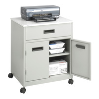 Safco Deluxe Machine Stand with Drawer, Steel/Laminate Top, Gray, 4 Wheel Item Number