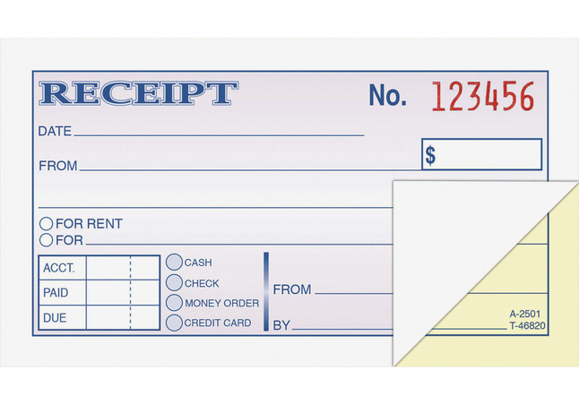 Receipts and Invoices and Statement Forms, Item Number 1104938