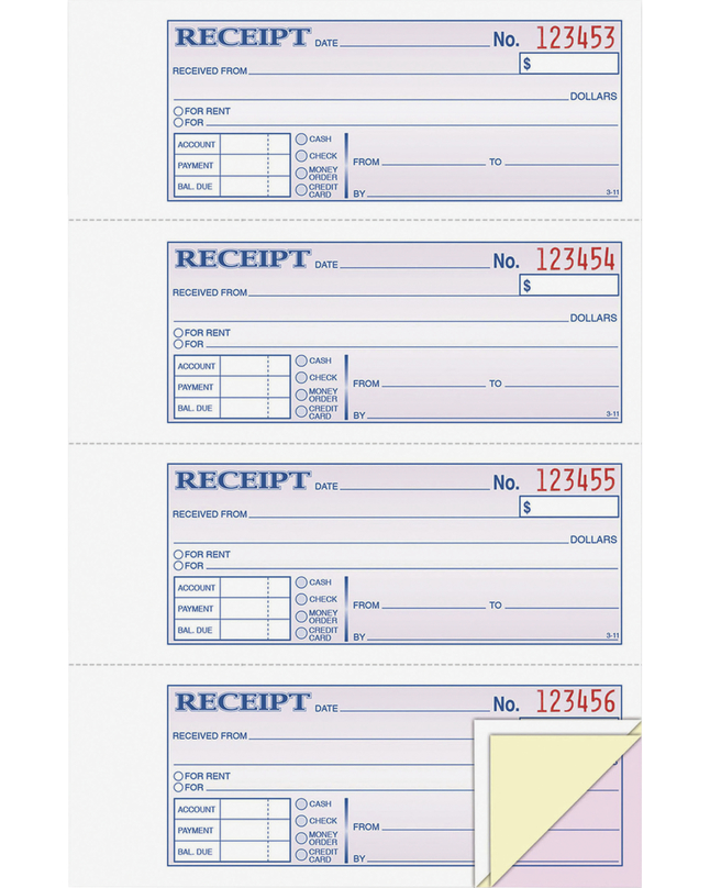Receipts and Invoices and Statement Forms, Item Number 1104952