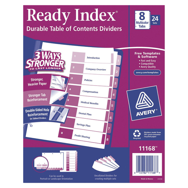 Index Dividers, Item Number 1118134