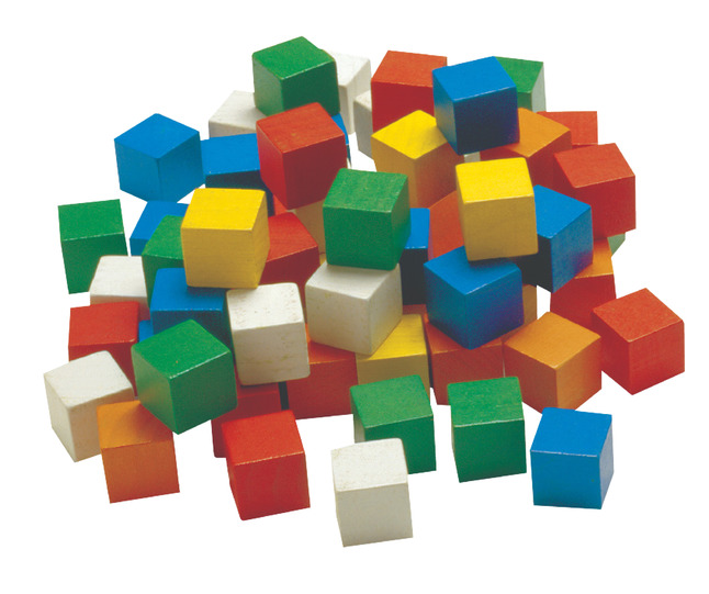Learning Advantage Wooden Cubes 1 Inch Assorted Colors Set Of 102