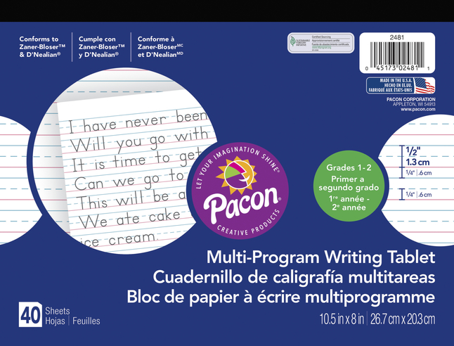 Image for Pacon Multi-Program Handwriting Tablet, 10-1/2 x 8 Inches, Grade 2, 40 Sheets from School Specialty