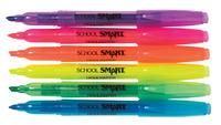 School Smart Highlighter, Chisel Tip, Assorted Colors, Pack of 6 Item Number