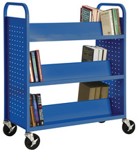 Sandusky Lee Book Truck, Double Sided, 6 Sloped Shelves, 39 x 19 x 46 Inches, Various Options Item Number