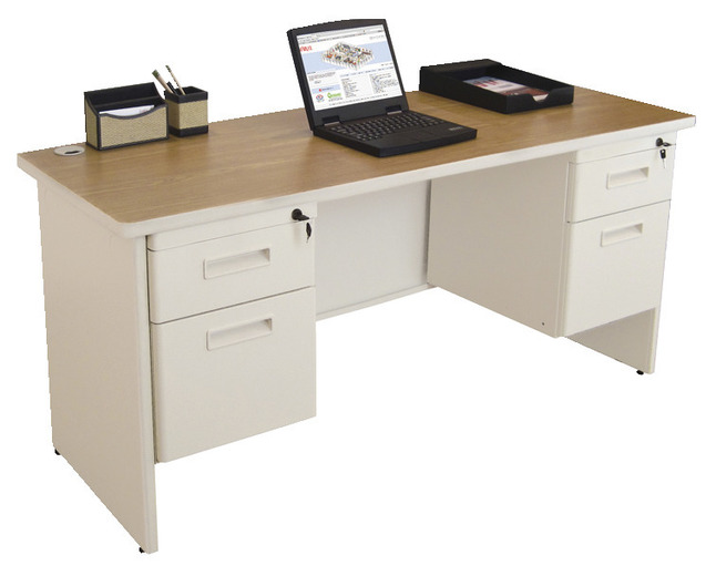 Pronto Credenza Double Pedestal Desk 29 X 60 X 24 In Steel