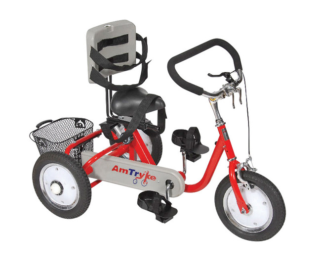Click for larger version of AmTryke Pro Series Foot Cycle with Saddle Seat and Plastic Back, 12 Inches