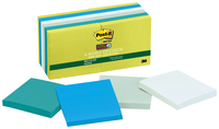 Post-it Super Sticky Recycled Paper Notes, 3 x 3 Inches, Bora Bora Colors, Pad of 90 Sheets, Pack of 12 Item Number 1327790