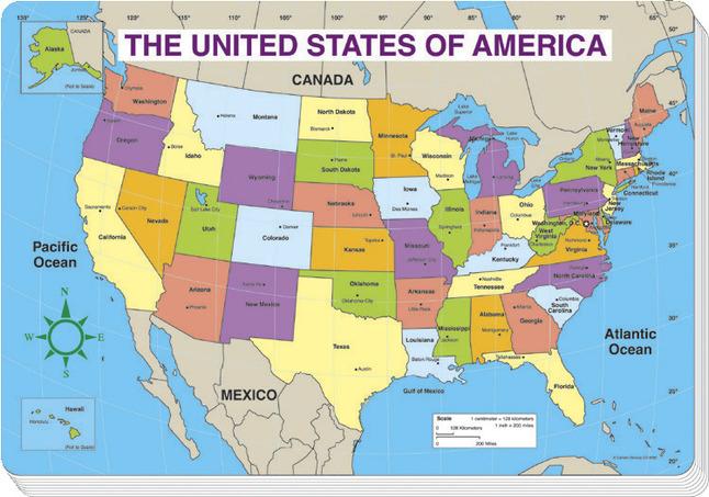 Carson-Dellosa United States Map Pad, Regular Size