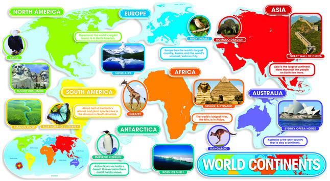 Scholastic World Continents Bulletin Board Set