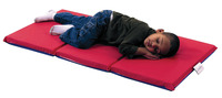 Angeles 3-Fold Nap Mat 2 Inch, 24 x 48 x 2 in, Red/Blue Item Number 1359969