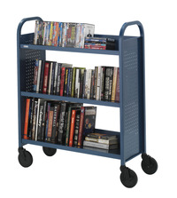 Bretford Single Sided Steel Book Truck, 3 Slanted Shelves, 36 x 14 x 44 Inches, Various Options Item Number 1362499