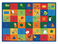 Carpets For Kids Blocks Learning Rug, 4 Feet 5 Inches x 5 Feet 10 Inches, Rectangle, Multi-Color Item Number 1365776