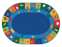 Carpets For Kids Blocks Learning Rug, 6 Feet 9 Inches x 9 Feet 5 Inches, Oval, Multi-Color Item Number 1365778