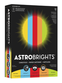 Astrobrights Mixed Carton Cardstock, 8-1/2 x 11 Inch, 65 lb, Assorted Colors, Pack of 1250 Item Number 1369010