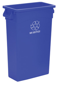 Continental Wall Hugger Seamless Smooth Receptacle with Handles, 23 Gallon, Blue Item Number 1370027