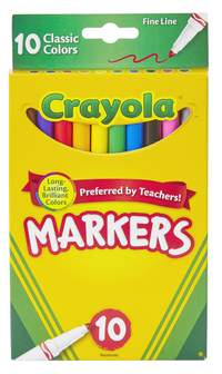 Crayola Original Marker Set, Fine Tip, Assorted Classic Colors, Set of 10 Item Number 1371172