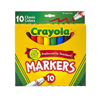 Crayola Original Broad Line Markers, Assorted Classic Colors, Set of 10 Item Number 1371173