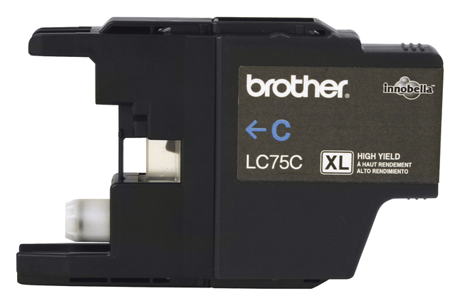 BROTHER LC75C High-Yield Ink 600 Page-Yield Cyan Black Printing /& Clear Grayscale Reproduction