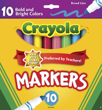 Crayola Original Broad Line Markers, Conical Tip, Assorted Bright and Bold Colors, Set of 10 Item Number 1382241