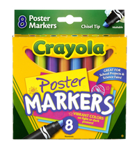 Crayola Non-Toxic Washable Poster Marker, Chisel Tip, Assorted Colors, Pack of 8 Item Number