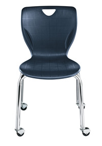 Classroom Select Contemporary Chair with Casters, 14 Inch Seat Height, Chrome Frame, Various Options Item Number 1496339