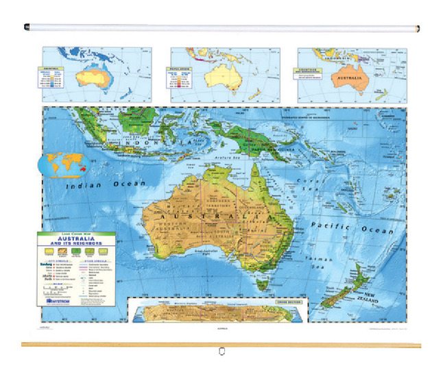 Australia Land Map.Nystrom Land Cover Australia Map