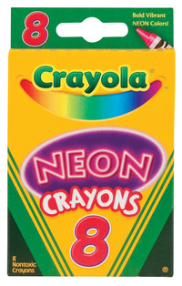 Crayola Non-Toxic Crayon, Assorted Neon Color, Set of 8 Item Number 1400730