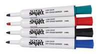 School Smart Dry Erase Marker, Chisel Tip, Assorted Colors, Pack of 4 Item Number 1400750