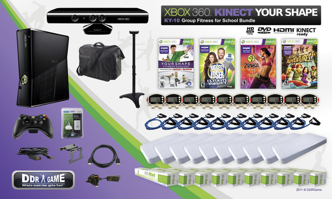 XBOX 360 Kinect Your Shape KY-10 Group Fitness for School Bundle
