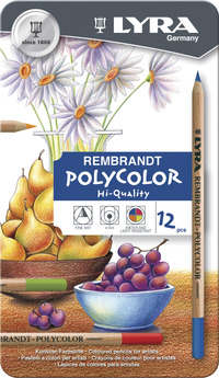 Lyra Rembrandt Polycolor Colored Pencils, Assorted Colors, Set of 12 Item Number 1430633