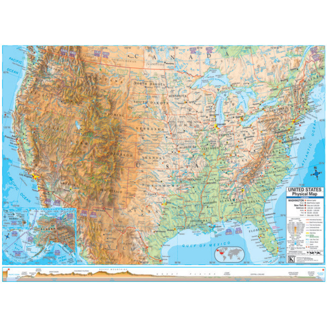 Kappa Maps Laminated Rolled Map, United States Advanced Physical