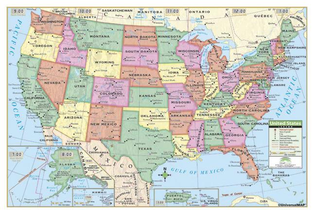 Kappa Maps Laminated Rolled Map, United States