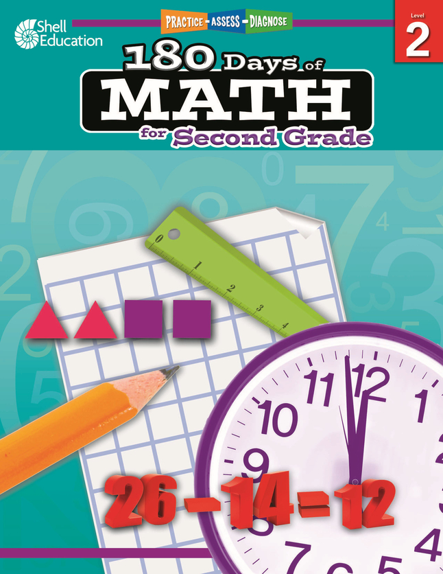 Shell Education Practice, Assess, and Diagnose: 180 Days of Math, Grade 2