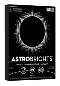 Astrobrights Card Stock, 65 lb, 8-1/2 x 11 Inches, Eclipse Black, 100 Sheets Item Number 1438731