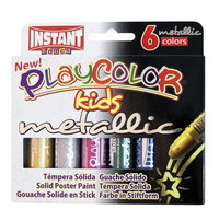 Jack Richeson Playcolor Solid Tempera, Assorted Metallic Colors, Set of 6 Item Number 1439039