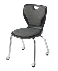 Classroom Select Contemporary Chair with Casters, Padded, 18 Inch Seat Height, Chrome Frame, Various Options Item Number 1441246