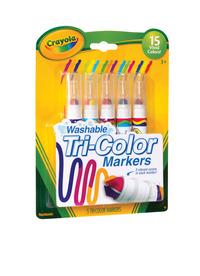 Crayola Washable Marker Set - 15 Colors Segmented Tip, Tri-Color, Set of 5 Item Number 1458627