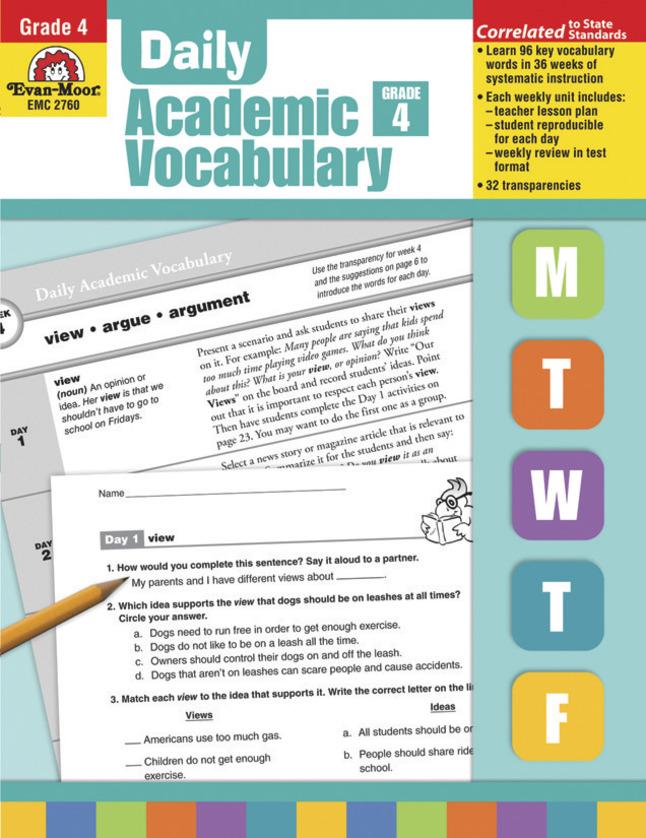 Evan-Moor Daily Academic Vocabulary, Grade 4 - Teachers Edition