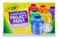 Crayola Washable Project Paint Set, Assorted Metallic, 2 oz, Set of 6 Item Number 1465257