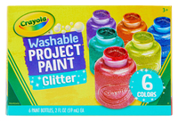 Crayola Washable Project Paint Set, Assorted Glitter, 2 oz, Set of 6 Item Number 1465258