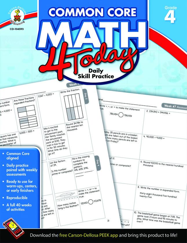 Carson-Dellosa Common Core Math 4 Today Workbook, Grade 4