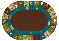 Carpets for Kids Learning Block Carpet, 6 x 9 Feet, Oval, Nature Colors Item Number 1468368