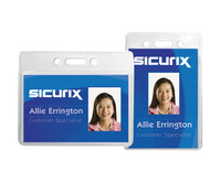 Sicurix Horizontal Badge Holders, 3-1/2 x 2-1/2 Inches, Vinyl, Clear, Pack of 50 Item Number 1469425